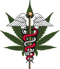 A marijuana leaf behind a medical symbol.