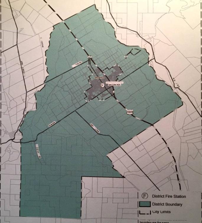 A map of the Greenfield Fire Protection District.