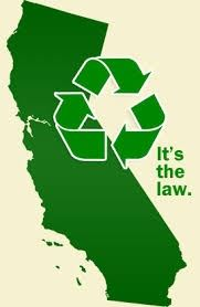 The State of California colored in green with a recycle symbol over it.