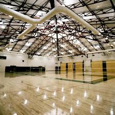 The inside of a basketball gym.