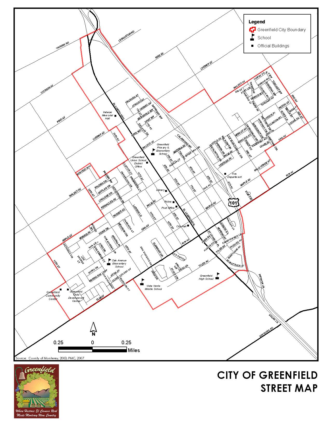 A street map of Greenfield.