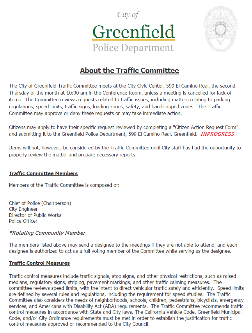 Traffic Committee
